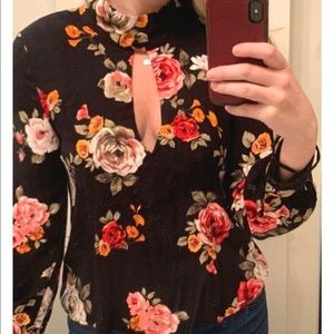Long sleeve floral cut-out top